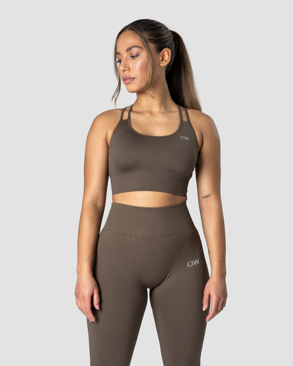 Ribbed Define Seamless Sports Bra Dark Sand